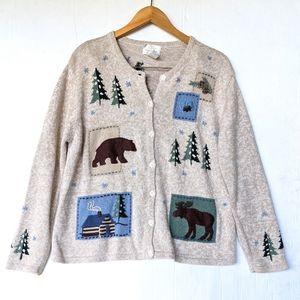 VINTAGE woodland rustic embroidered cardigan